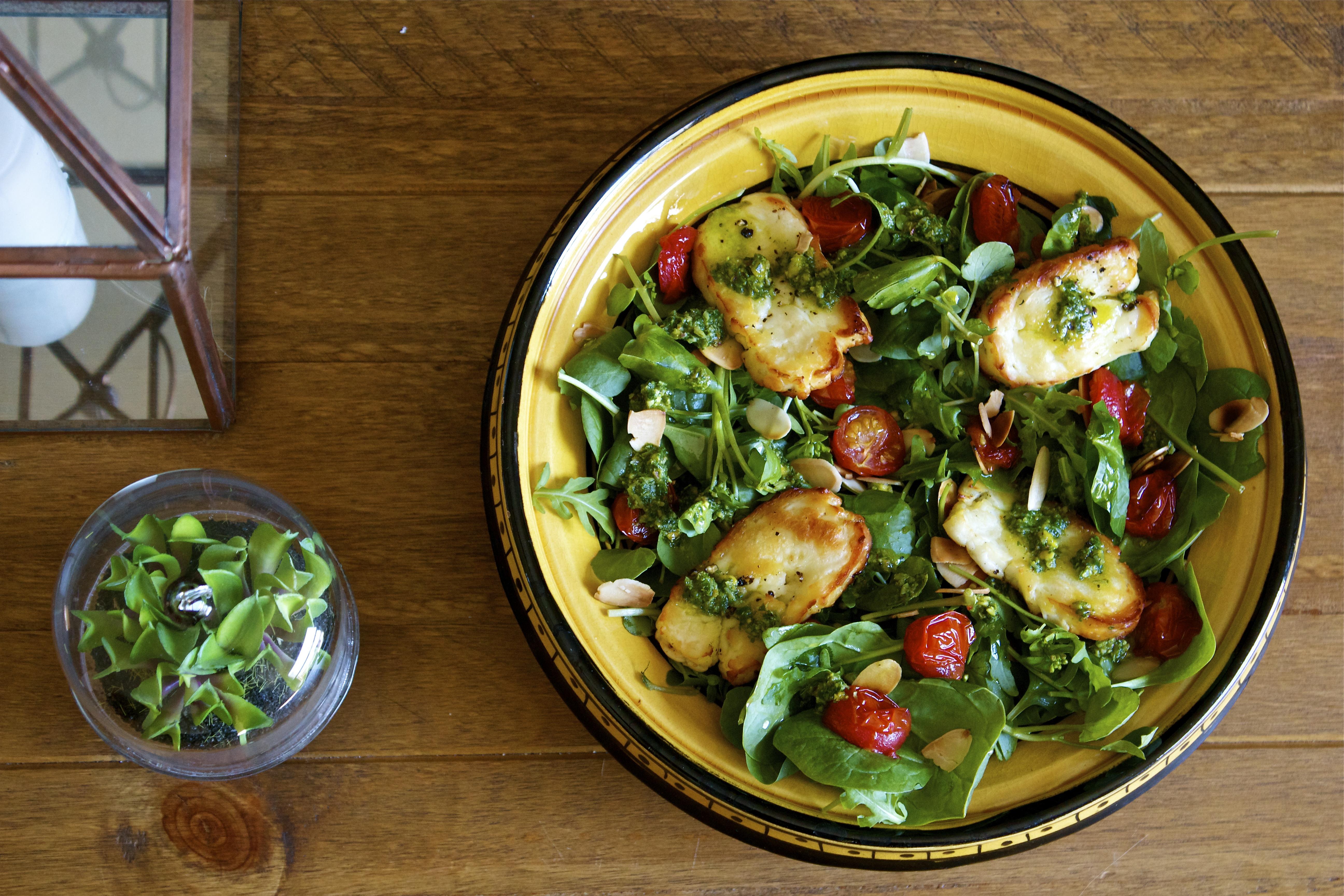 Gluten Free, Halloumi, Tomato, Salad, Pesto Vinaigrette